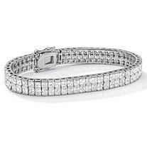 6 TCW Princess-Cut Cubic Zirconia Silvertone Double-Row Tennis Bracelet 7 1/4