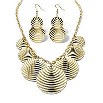 "2 Piece Textured Multi-Disk Bib Necklace 16"" and Drop Earrings Set in Yellow Gold Tone"