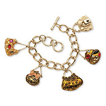 "Crystal ""Handbag Heaven"" Charm Bracelet in Enamel and Yellow Gold Tone"