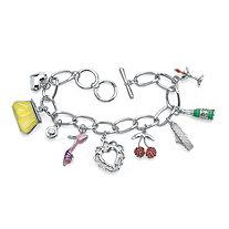 Round Crystal Silvertone Enamel Accent Uptown Girl Charm Bracelet 8