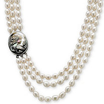 Genuine Cultured Freshwater Pearl and Black Mother-Of-Pearl Cameo Triple-Strand Necklace 28""