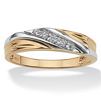 Men's Round 18k Yellow Gold Over Sterling Silver Cubic Zirconia Wedding Band Ring