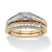 1/5 TCW Round Diamond 18k Yellow Gold over Sterling Silver Bridal Engagement Cutout Ring Set