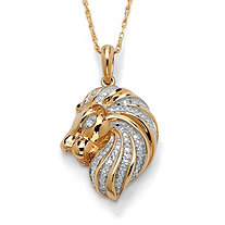 Diamond Accent 18k Yellow Gold over Sterling Silver Lion Pendant and Chain 18""