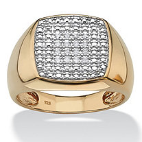 Men's 1.00 TCW Diamond 18k Yellow Gold Over Sterling Silver Cluster Ring
