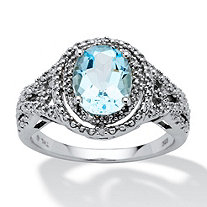 2.50-Carat Oval-Cut Genuine Blue Topaz and Diamond Accent Platinum over Sterling Silver Ring