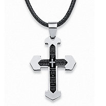 "Men's Stainless Steel Black ION-Plated Lord's Prayer Cross Pendant Fabric Cord Adjustable 17"" to 20"""