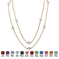 Princess-Cut Simulated Birthstone Station Necklace in Yellow Gold Tone 48""
