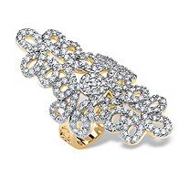 1.70 TCW Round 14k Gold Plated Cubic Zirconia Swirl Ring