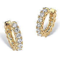 2.40 TCW Round Cubic Zirconia 14k Yellow Gold-Plated Eternity Huggie-Style Hoop Earrings