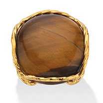 Cabochon-Shaped Genuine Tiger's Eye 14k Yellow Gold-Plated Twisted Channel-Set Pillow Ring