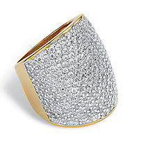 4.13 TCW Round Cubic Zirconia 14k Gold-Plated Pave-Set Band