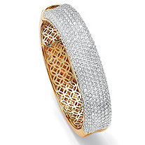 11.55 TCW Round Cubic Zirconia 14k Yellow Gold-Plated Pave Bangle Bracelet 7""