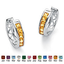 Princess-Cut Channel-Set Simulated Birthstone Sterling Silver Hoop Earrings