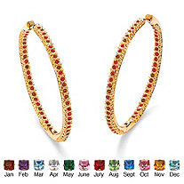 Simulated Birthstone 14k Yellow Gold-Plated Inside-Out Hoop Earrings