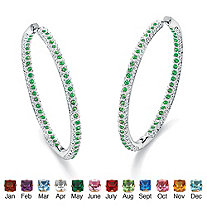 Round Simulated Birthstone Silvertone Inside-Out Hoop Earrings