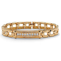 Men's .90 TCW Round Cubic Zirconia 14k Gold-Plated I.D.-Style Bar-Link Bracelet 8