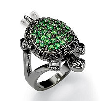 .52 TCW Black Cubic Zirconia and Green Crystals Black Rhodium-Plated Turtle Ring