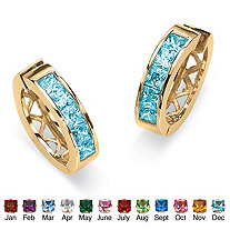 Channel-Set Simulated Birthstone 18k Gold-Plated Huggie-Hoop Earrings