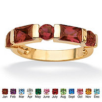 Channel-Set Emerald-Cut Simulated Birthstone 18k Yellow Gold-Plated Ring
