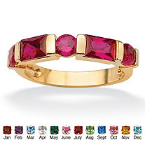 Channel-Set Emerald-Cut Simulated Birthstone 18k Gold-Plated Ring