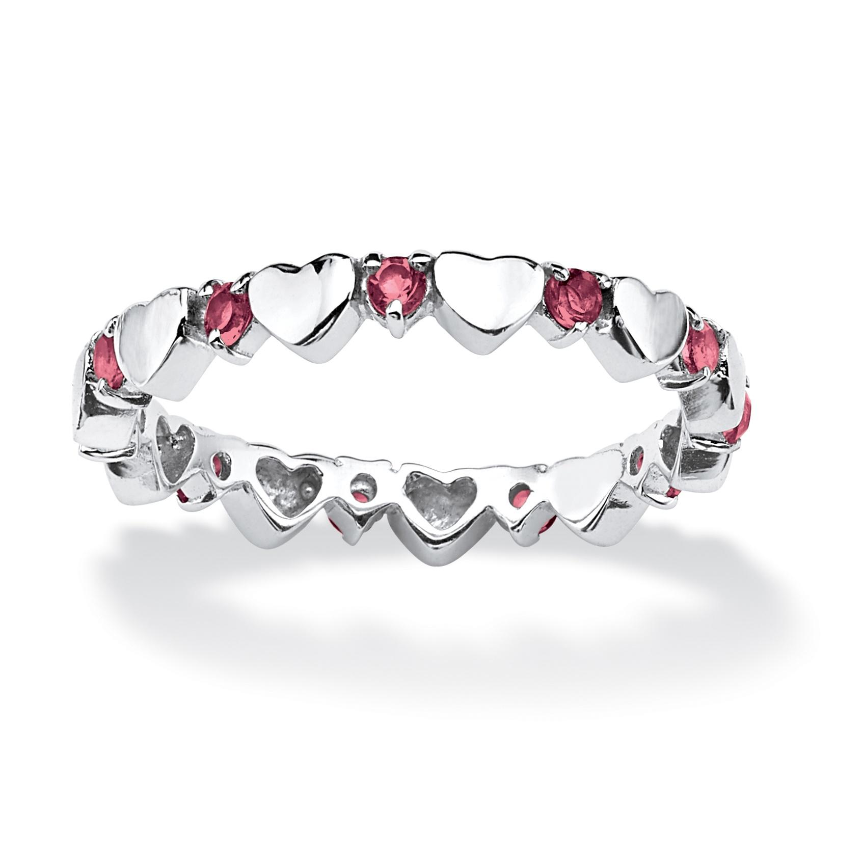 Birthstone 925 Silver Eternity Heart Ring October ...