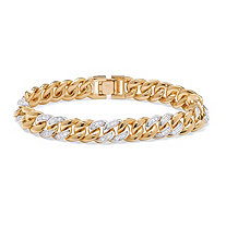 Men's 1.35 TCW Round Cubic Zirconia 14k Yellow Gold-Plated Curb-Link Bracelet 8""