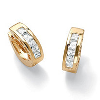 2.96 TCW Princess-Cut Cubic Zirconia 14k Gold-Plated Huggie-Style Hoop Earrings