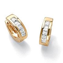 2.96 TCW Princess-Cut Cubic Zirconia 14k Gold-Plated Huggie-Style Hoop Earrings