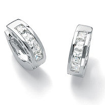 2.96 TCW Princess-Cut Cubic Zirconia Silvertone Channel-Set Huggie-Style Hoop Earrings