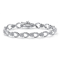 .42 TCW Round Diamond Platinum over Sterling Silver Flower-Link Bracelet 7 1/4""