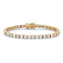 12.40 TCW Round and Princess-Cut Cubic Zirconia 14k Gold-Plated Tennis Bracelet 7 1/4""