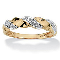 Diamond Accent 10k Yellow Gold Wave Ring