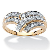 1/4 TCW Round Diamond 10k Yellow Gold Engagement Anniversary Chevron Bypass Ring