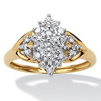 1/10 TCW Round Diamond 10k Gold Engagement Anniversary Cluster Spray Ring