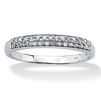 Diamond Accent Double Row Ring in 10k White Gold