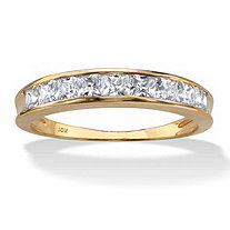 .81 TCW Princess-Cut Cubic Zirconia 10k Yellow Gold Channel-Set Anniversary Ring Wedding Band