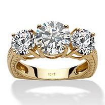 3.60 TCW Round Cubic Zirconia 10k Yellow Gold 3-Stone Engagement/Anniversary Ring