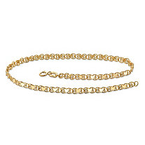 10k Yellow Gold Heart-Link Ankle Bracelet 9 1/4""