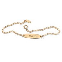 10k Yellow Gold Oval-Shaped Personalized I.D. Figaro-Link Ankle Bracelet 9 1/4
