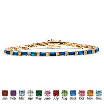 Emerald-Cut Simulated Birthstone 14k Yellow Gold-Plated Tennis Bracelet