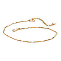 18k Yellow Gold Over Sterling Silver Bar and Bead Link Ankle Bracelet 11""