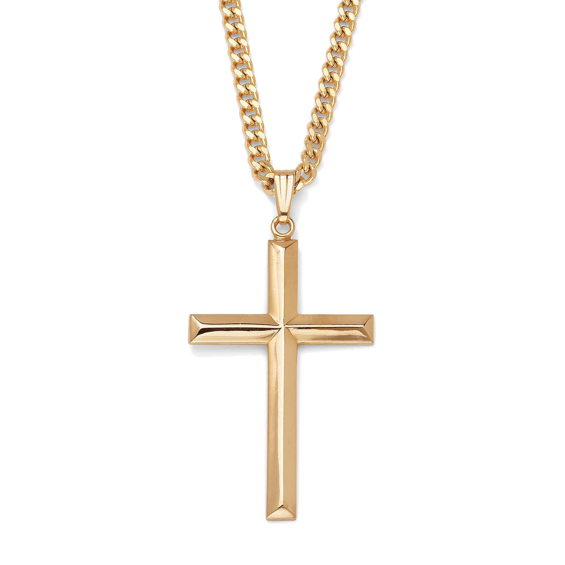 palmbeach jewelry 14k yellow gold plated cross pendant and