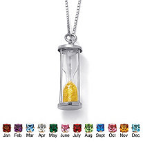 Genuine Birthstone Granules Sterling Silver Hourglass Pendant and Chain 18