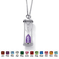 Genuine Birthstone Granules Sterling Silver Hourglass Pendant and Chain 18""