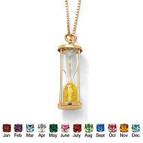 Genuine Birthstone Granules 18k Yellow Gold over Sterling Hourglass Pendant