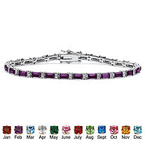 Emerald-Cut Simulated Birthstone Silvertone Tennis Bracelet 7 1/2