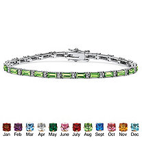 Emerald-Cut Simulated Birthstone Silvertone Tennis Bracelet 7 1/2""