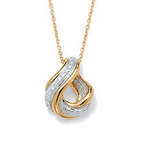Diamond Accent 18k Gold over Sterling Silver Swirled Eternity Drop Pendant and Chain 18""