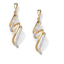 Diamond Accent 18k Gold over Sterling Silver Curled Ribbon Drop Earrings
